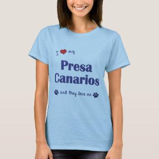 Camiseta Eu amo meu Presa Canarios (os cães múltiplos)