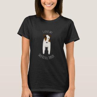 Camiseta Eu amo meu preto de Jack Russell Terrier