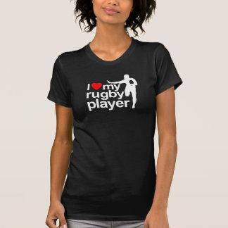 Camiseta Eu amo meu preto do jogador do rugby