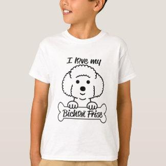 Camiseta Eu amo meu roupa ocasional de Bichon Frise
