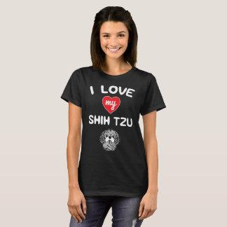 Camiseta Eu amo meu Shih que Tzu enfrenta o t-shirt da arte