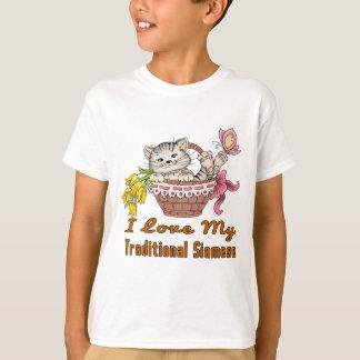Camiseta Eu amo meu Siamese tradicional