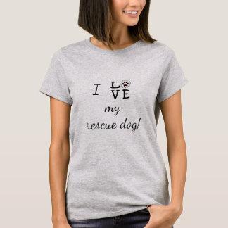 Camiseta Eu amo meu t-shirt básico do cão do salvamento