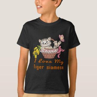 Camiseta Eu amo meu tigre siamese