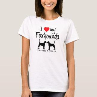 Camiseta Eu amo meus cães de dois Foxhound