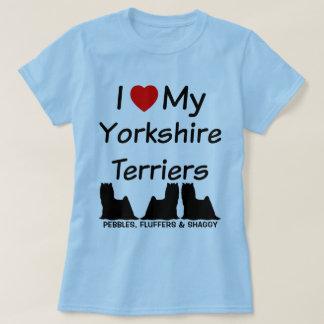Camiseta Eu amo meus cães de TRÊS yorkshires terrier