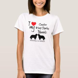 Camiseta Eu amo meus cães descuidados do Spaniel de rei