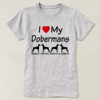 Camiseta Eu amo meus cães do Pinscher de QUATRO Doberman