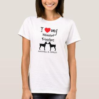 Camiseta Eu amo meus cães do Pinscher diminuto