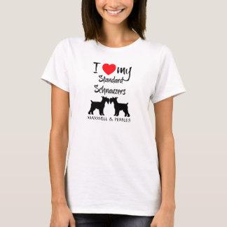 Camiseta Eu amo meus cães do Schnauzer padrão