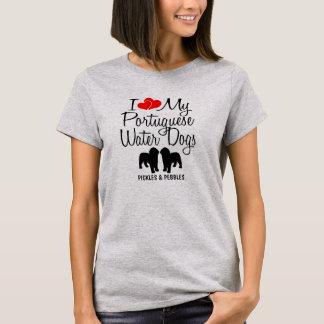 Camiseta Eu amo meus dois cães de água portugueses