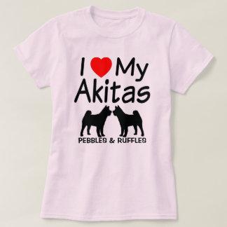 Camiseta Eu amo meus DOIS cães de Akita