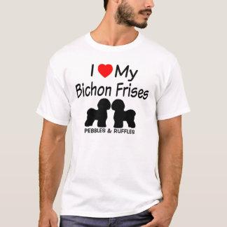 Camiseta Eu amo meus dois cães de Bichon Frise