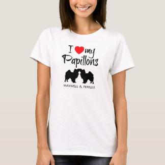 Camiseta Eu amo meus dois cães de Papillon