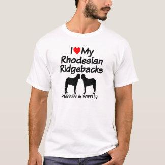 Camiseta Eu amo meus dois cães de Rhodesian Ridgeback