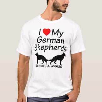 Camiseta Eu amo meus DOIS german shepherd