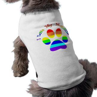 Camiseta Eu amo minhas camisetas do cão do orgulho gay das