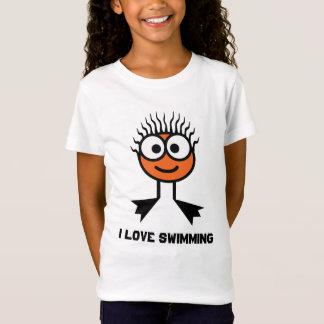 Camiseta Eu amo nadar - caráter alaranjado da natação