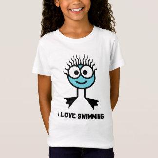 Camiseta Eu amo nadar - caráter azul da natação