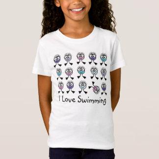 Camiseta Eu amo nadar - caráteres Pastel da natação
