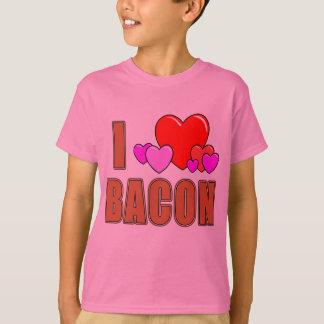 Camiseta Eu amo o bacon mim design do bacon do divertimento