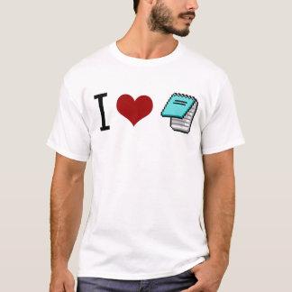 Camiseta Eu amo o bloco de notas
