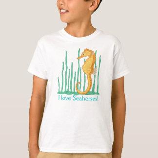 Camiseta Eu amo o cavalo marinho da laranja dos cavalos