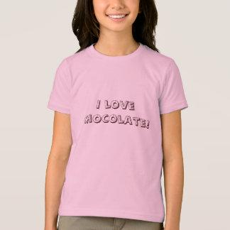 Camiseta Eu amo o chocolate!  T-shirt das meninas