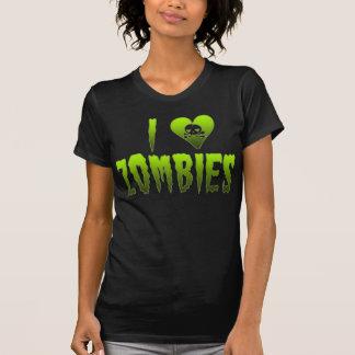 Camiseta Eu amo o crânio o Dia das Bruxas dos zombis