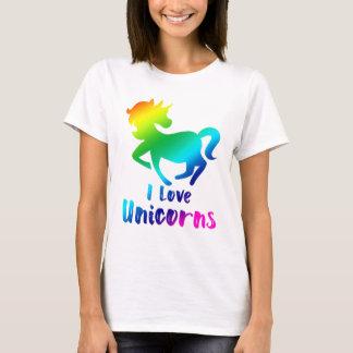 Camiseta Eu amo o design do arco-íris dos unicórnios