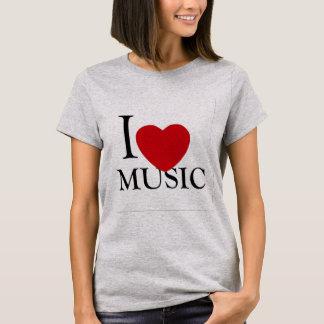Camiseta eu amo o design vermelho do t-shirt dos melómanos