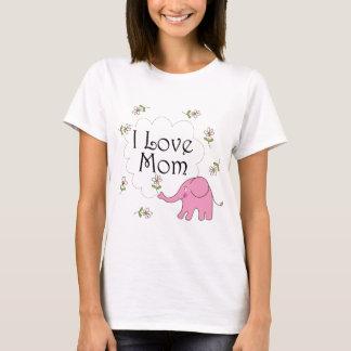 Camiseta Eu amo o elefante cor-de-rosa da mamã