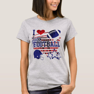 Camiseta Eu amo o futebol (o futebol americano)