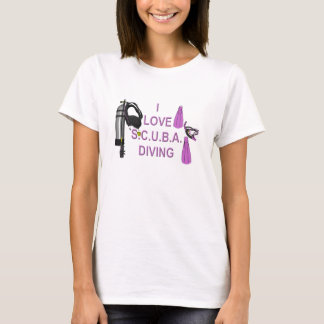 Camiseta Eu amo o mergulho de S.C.U.B.A. - esportes,