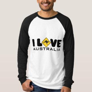 Camiseta Eu amo o Raglan longo básico da luva de Austrália