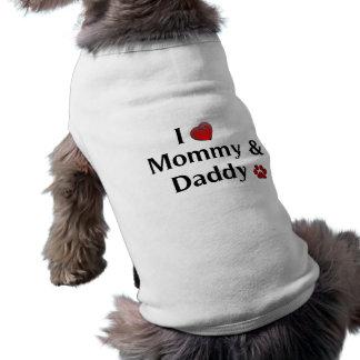 Camiseta Eu amo o roupa do cão das mamães & do pai