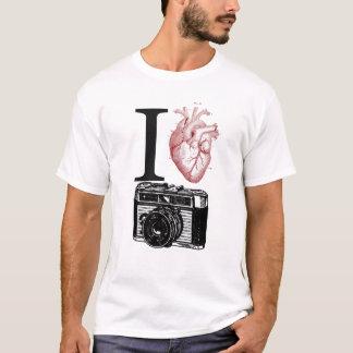 Camiseta Eu amo o T da fotografia da câmera do vintage