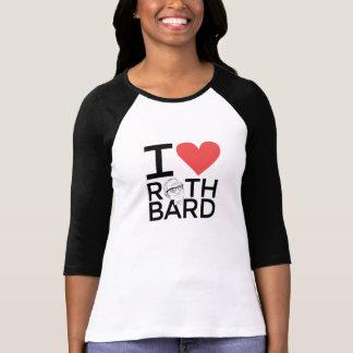 Camiseta Eu amo o T do softball das senhoras de Rothbard