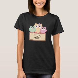 Camiseta Eu amo o t-shirt colorido das corujas