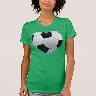 Camiseta Eu amo o t-shirt da bola de futebol do coração do