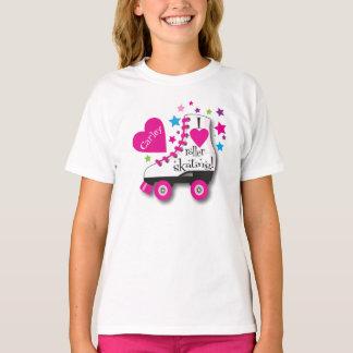 Camiseta Eu amo o t-shirt da patinagem de rolo