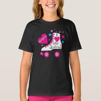 Camiseta Eu amo o t-shirt da patinagem de rolo - preto