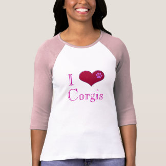 Camiseta Eu amo o t-shirt das senhoras cor-de-rosa dos