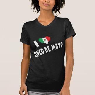 Camiseta Eu amo o t-shirt das senhoras de Cinco de Mayo
