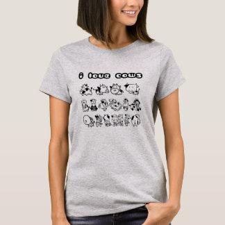 Camiseta Eu amo o t-shirt das vacas
