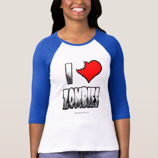 Camiseta Eu amo o t-shirt do Raglan do júnior dos zombis