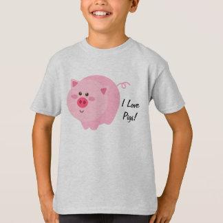 Camiseta Eu amo o t-shirt dos miúdos dos porcos