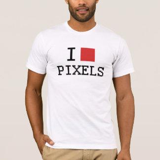 Camiseta Eu amo o t-shirt dos pixéis do coração dos