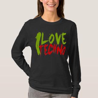 Camiseta EU AMO o t-shirt longo de TECHNO