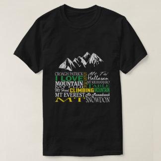 Camiseta Eu amo o t-shirt preto do alpinismo